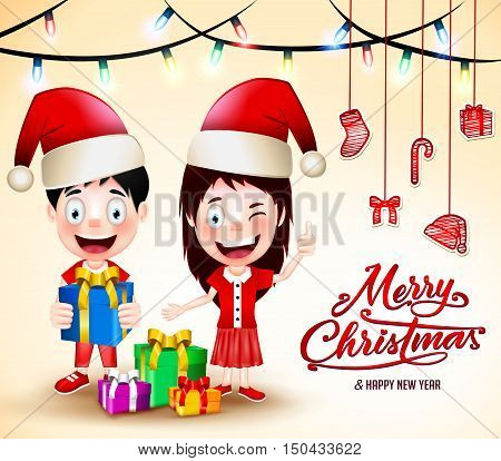 Christmas Vector Illustration with Gifts and Happy Kids Wearing Santa Hat