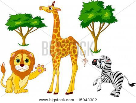Conjunto de animais selvagens da Africa