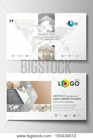 Business card templates. Cover design template, easy editable blank, abstract flat layout. Abstract gray color business background, modern stylish hexagonal vector texture
