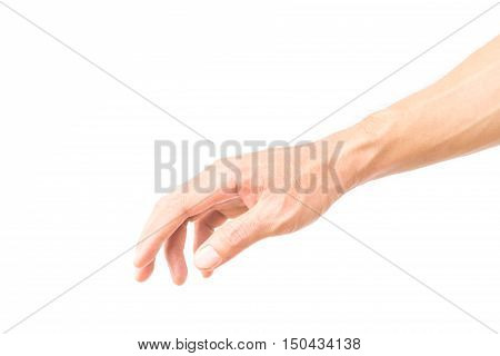 Man arm with blood veins on white background health care concept