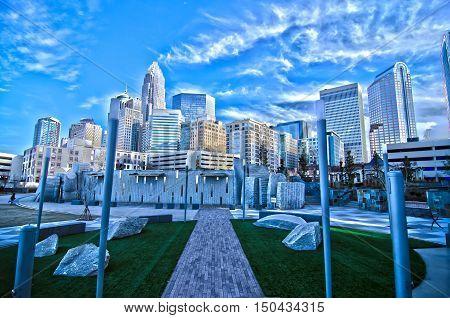 December 27, 2014, Charlotte, Nc, Usa - Charlotte Skyline Near Romare Bearden Park