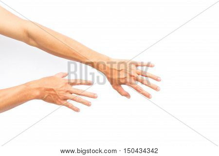 Man back hand with blood veins on white background