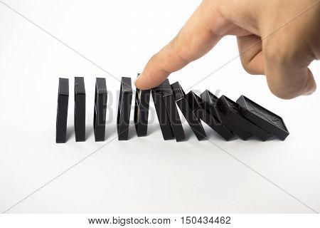 Domino on white background , Organization, Risk concept.