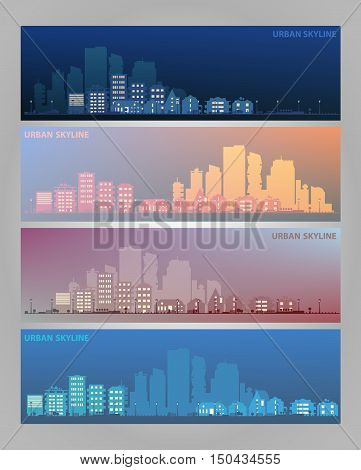 Cityscape sets with various parts of a city on blurred backgrounds. Small towns or suburbs and downtown silhouettes. Illustration divided on layers for create parallax effect