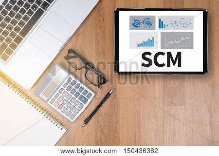 SCM Supply Chain Management abbreviation advertise concept