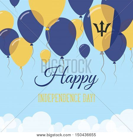Barbados Independence Day Flat Greeting Card. Flying Rubber Balloons In Colors Of The Barbadian Flag