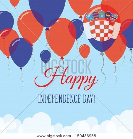 Croatia Independence Day Flat Greeting Card. Flying Rubber Balloons In Colors Of The Croatian Flag.