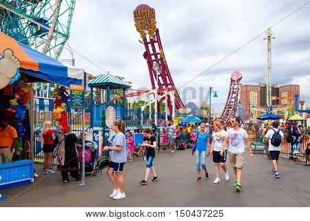 NEW YORK,USA - AUGUST 18,2016 : The Luna Park amusement park at Coney Island