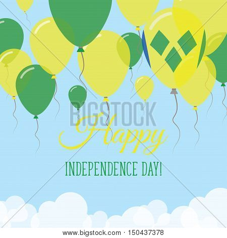 Saint Vincent And The Grenadines Independence Day Flat Greeting Card. Flying Rubber Balloons In Colo