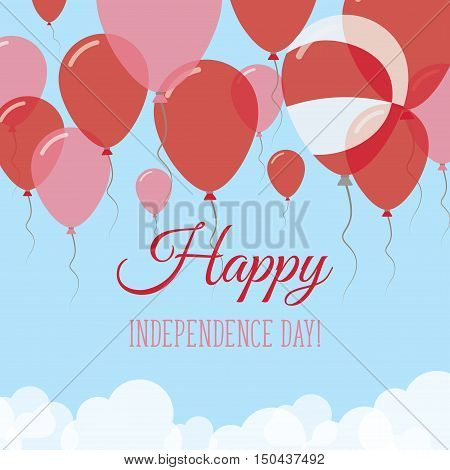 Greenland Independence Day Flat Greeting Card. Flying Rubber Balloons In Colors Of The Greenlandic F