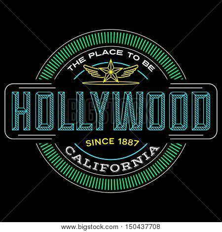 hollywood, California linear logo design for t shirts and stickers