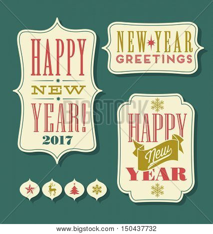 Happy New Year 2017 tags vintage typography design elements
