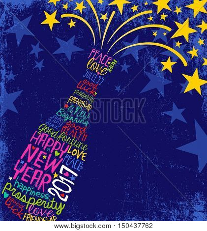 Happy New Year 2017 retro design. abstract champagne bottle bursting. inspiring handwritten words