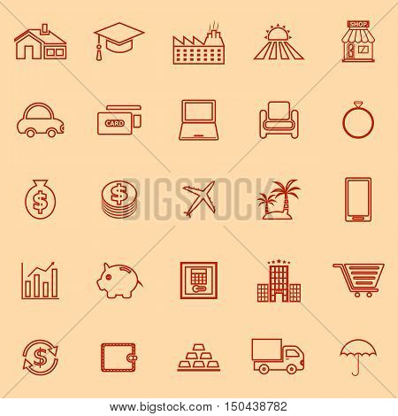 Loan line color icons on orange background, stock vector