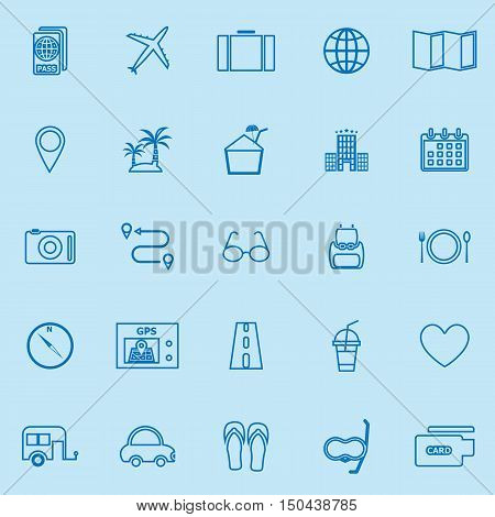 Trip line color icons on blue background, stock vector