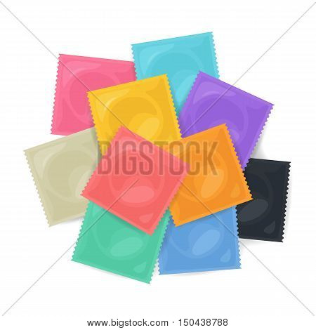 Vector Pile Of Color Condoms