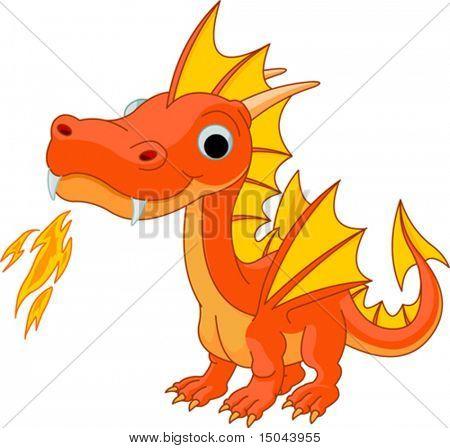 Illustration of Cute Cartoon fire dragon