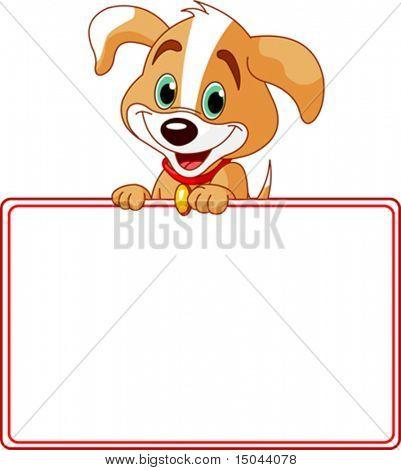 Filhote de cachorro adorável olhando por cima do sinal estrelado em branco