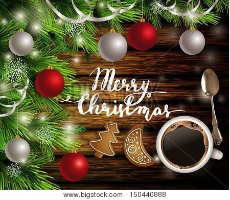 Christmas New Year design dark rustic wooden background with coffee teaspoon christmas tree and silver and red balls