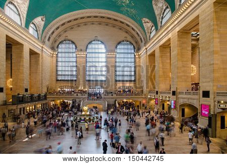 NEW YORK USA - JUNE 12 2015: Main hall of Grand Central Station New York