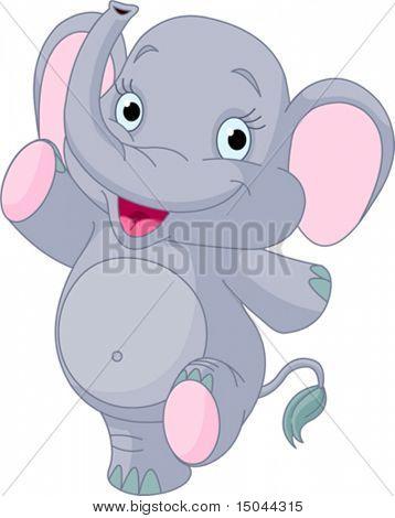 Happy sehr niedlich Elefantenbaby tanzen