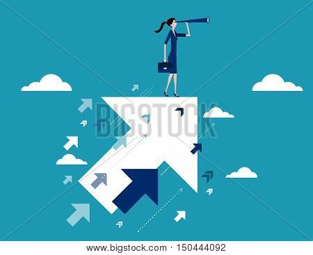 Businesswoman searching for opportunities. Business concept illustration vector flat