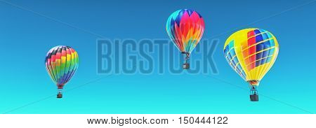 The hot air balloons in blue sky. This is a 3d render illustration