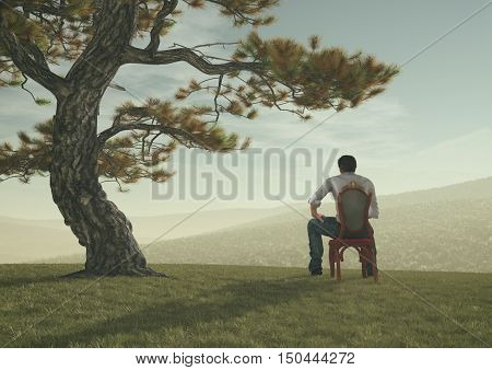 The young man sit under a tree on the hill and admire the landscape.This is a 3d render illustration