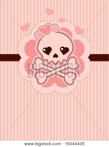 Very cute Love Skull place card with place for copy/text
