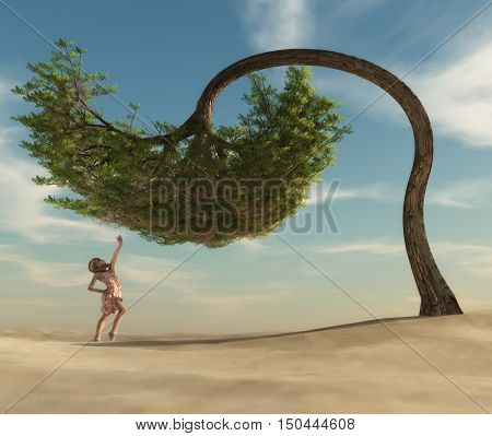 The young woman sitting under a tree umbrella-shaped. This is a 3d render illustration