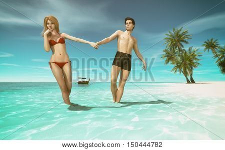 A young couple walking along a beach on a tropical island and a boat floating behind. This is a 3d render illustration