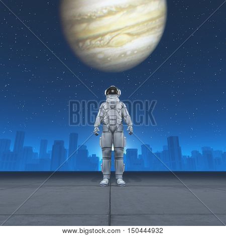 Astronaut in the city background looking to the moon. This is a 3d render illustration