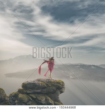 Girl in a pink dress standing on a rock admiring the mountain landscape. This is a 3d render illustration