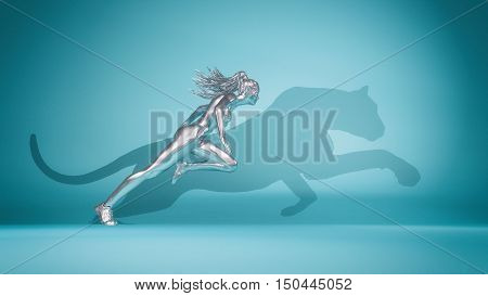 Woman running on blue background and her shadow is shaped as a ghepard. This is a 3d render illustration