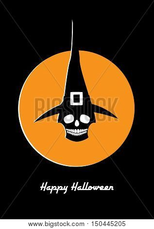 Halloween retro styled greeting card. Vector illustration of a skull in a witch hat. White and orange colors on a black background. Vertical format.