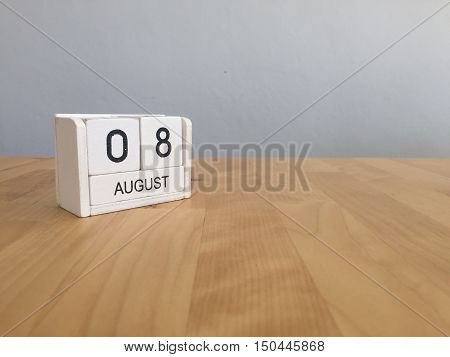 August 8Th.august 8 White Wooden Calendar On Wood Background.summer Day.copyspace For Text.