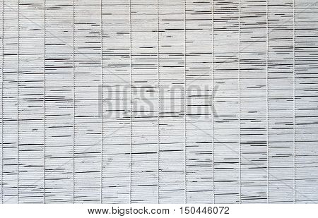 Mat white wood blinds texture. Bamboo curtain.