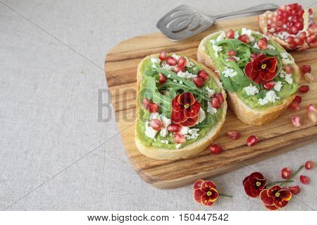 Pomegranate Green Sourdough Open Face Sandwiches Toast