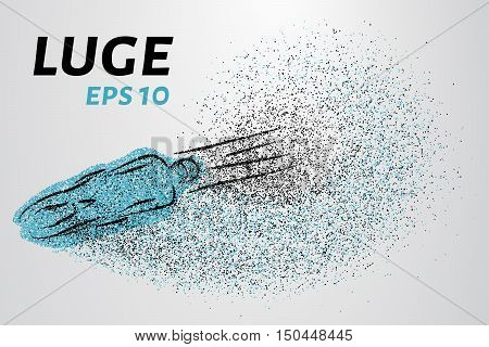 Luge of particles. Silhouette Luge consists of small circles.