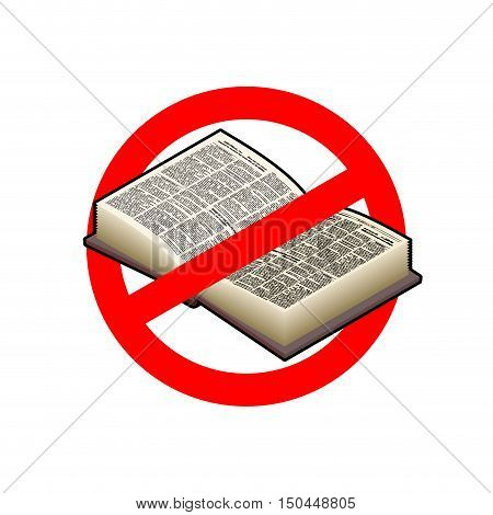 Stop Read. It Is Forbidden To Education. Red Prohibition Sign. Crossed-book. Ban Tuition