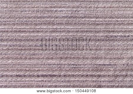 Light gray background of a knitted textile material with pattern of horizontall lines. Fabric with a striped texture closeup.