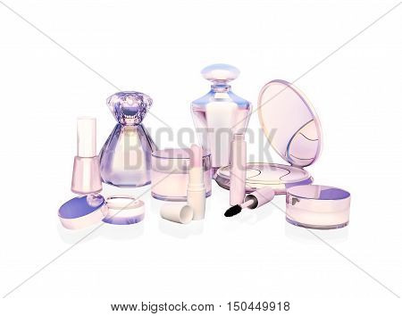 Makeup set on light background. 3D illustration