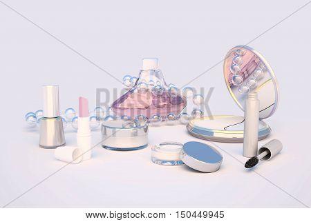 Makeup set on light gray background. 3D illustration