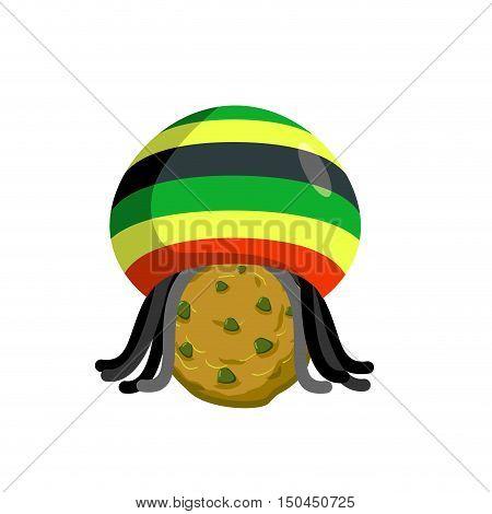 Rasta Cookies. Rastafarian Hat And Dreadlocks And Biscuit. Reggie Food. Drug Sweets. Jamaican Sweets