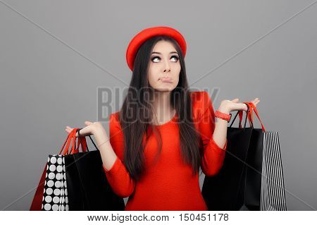 Undecided  Woman Wearing Red Dress Holding  Shopping Bags