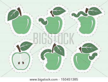 green apple and worm. set of six color icons