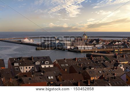 Helgoland City Harbor From Hill