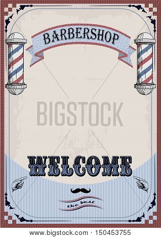 Frame border sign signboard fascia or shingle for barber coiffeur haircutter vintage retro inscription barbershop. Vector vertical closeup front view beautiful old school signboard barber's salon