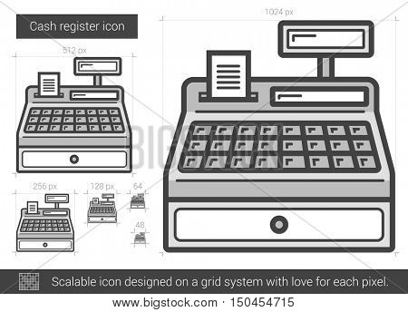 Cash register vector line icon isolated on white background. Cash register line icon for infographic, website or app. Scalable icon designed on a grid system.