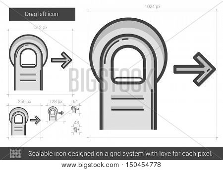 Drag right vector line icon isolated on white background. Drag right line icon for infographic, website or app. Scalable icon designed on a grid system.